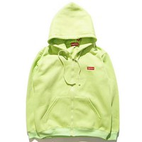 """Supreme"" Fashion Women Men Casual Letter Print Long Sleeve Zipper Hoodie Thick Pullover Sweatshirt Top Sweater Coat Green I-YQ-ZLHJ"