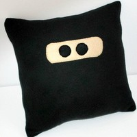 Ninja Black  Fleece Novelty Pillow by YellowBugBoutique on Etsy