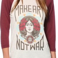 Obey Make Art Not War Natural & Burgundy Baseball Shirt
