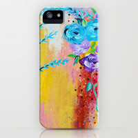 MORE IS MORE - Gorgeous Floral Abstract Acrylic Bouquet Colorful Ikat Roses Summer Flowers Painting iPhone Case by EbiEmporium