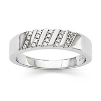 Sterling Silver & CZ Brilliant Embers Men's Ring QMP1360