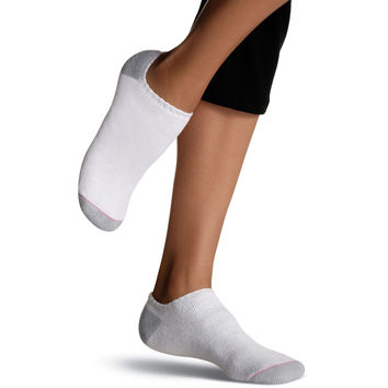 Hanes Womens No Show Socks Extended Size 10 Pack