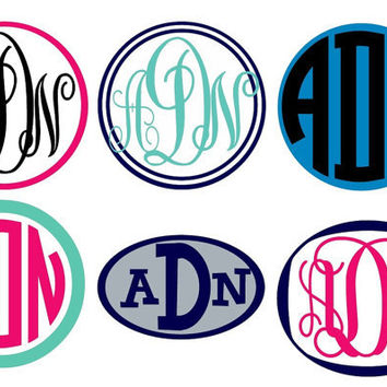 2inch Monogram Sticker 2-Color Vinyl Decal