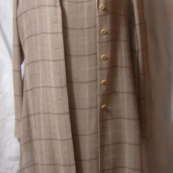 Designer, Emanuel Ungaro, Coat Dress, Beige Tan Brown  Print, Classic Coat Sheath Dress, Size 2, Office Church, Dining,Wedding