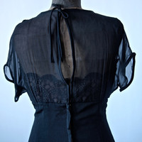 Vintage 50's/60's Mad Men Black Crepe and Lace Wiggle Dress With Illusion Neckline