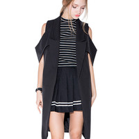 Black Off Shoulder Cutout Lapel Long Vest Coat