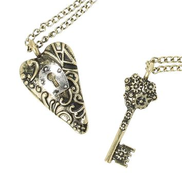 Licensed cool Key to My Heart Best Friends BFF Besties 2 PK Pendant Necklace Set LoveSick NEW