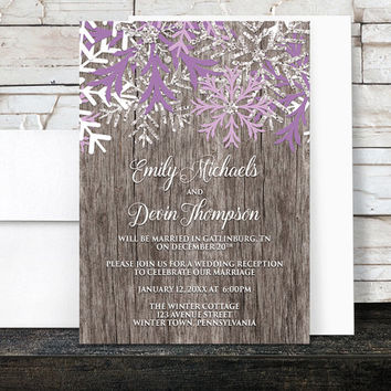 Rustic Winter Reception Only Invitations - Purple Snowflake design over Country Wood - Post-Wedding Reception - Printed
