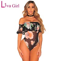 Liva Girl Off Shoulder Floral Printed Sexy Mesh Bodysuit Women Rompers Summer Elegant Ruffles Playsuit Bodycon Jumpsuit Womens