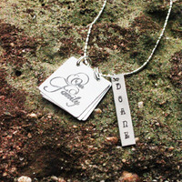 Personalized Family Charm Necklace - Storybook Necklace - Personalized Hand Stamped Necklace