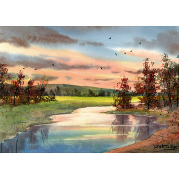watercolor Painting landscape painting Creek PRINT Sunset tree fall trees with river  water GICLEE reproduction 8 x 10