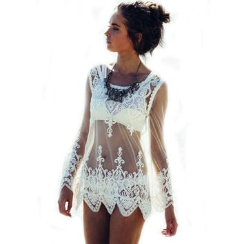 Sexy Women Blouses See-through Crochet Lace Blouse Long Sleeve Beach Swimsuit Bikini Cover Up Embroidery Summer Women Tops