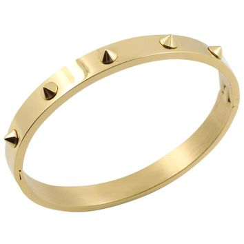 Fashion Love Women Punk Bracelet Gold Retro Double Arrow Tapered Stainless Steel gold color Rivets Nail Cuff Bangle Jewelry