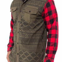 Aztec Button Up Shirt with Flannel Buffalo Plaid Sleeves and Zipper Sides
