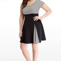 Plus Size Solid Scuba with Stripe Flare Dress | Fashion To Figure