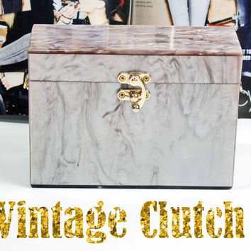 50's Nude Pink Vintage Mother of Pearl Box Clutch-Milanblocks