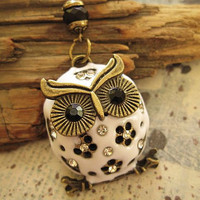 Snow Owl Necklace with crystal accent by trinketsforkeeps on Etsy