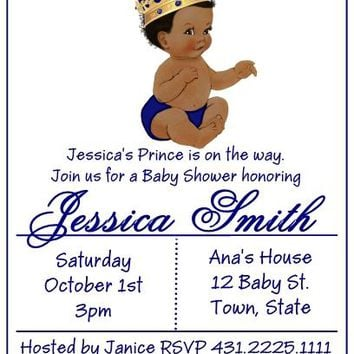 10 Prince Baby Shower Invitations Dark Skin