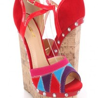 Red Faux Suede Colorblock Peep Toe Cork Wedges