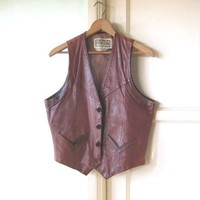 Masculine Vintage Brown Leather Vest by Chess King; Men's Distressed Vest w/ Pockets; Flawed
