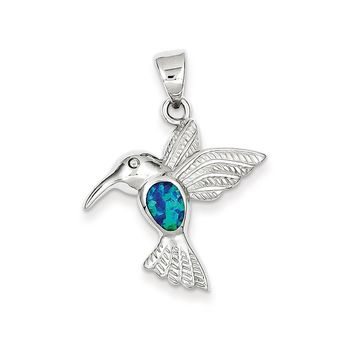 Sterling Silver Blue Inlay Simulated Opal Hummingbird Pendant