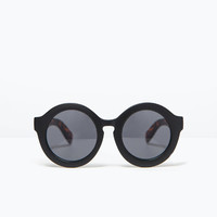 Round sunglasses faux tortoiseshell arms
