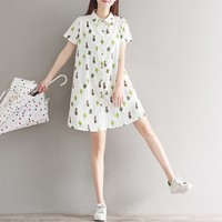Cactus Print Shirt Dress