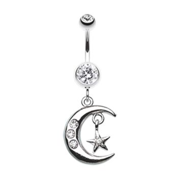 Glistening Moon and Star Belly Button Ring Navel Ring Body Jewelry
