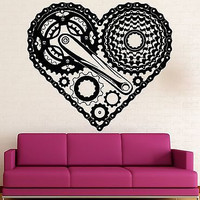 Wall Sticker Vinyl Decal Heart Love Steampunk Engine Mechanical Bike (ig2195)