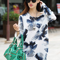 New summer clothes for pregnant women t-shirt floral print ice silk  Long sleeve loose T shirts tops Maternity Dress 8 Styles