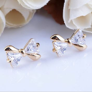 Glittering Bow Rhinestone Golden Earrings