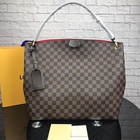LV Louis Vuitton Tide brand classic old flower female shoulder bag Messenger bag Coffee check