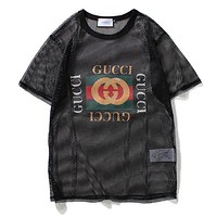 GUCCI Woman Men Mesh Hollow Tunic Shirt Top Blouse