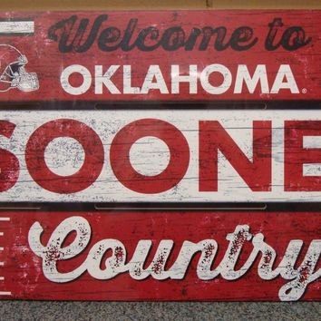 "OKLAHOMA SOONERS WELCOME TO SOONERS COUNTRY WOOD SIGN 19""X30'' NEW WINCRAFT"