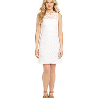 Calvin Klein Floral Lace Overlay A-Line Dress - White
