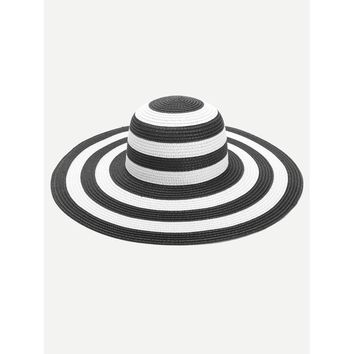 Striped Design Floppy Hat