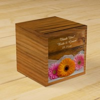 Faux Barn Wood Daisy Trio Wedding Favor Box