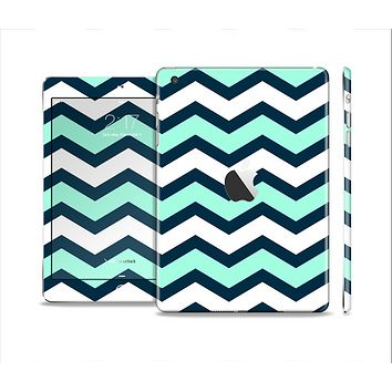 The Teal & Blue Wide Chevron Pattern Full Body Skin Set for the Apple iPad Mini 2