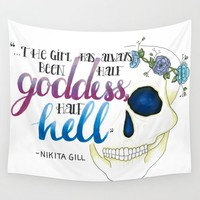 Half Goddess. Half Hell. Wall Tapestry by Katie Cozzi