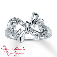 Open Hearts Bow Ring 1/15 ct tw Diamonds Sterling Silver