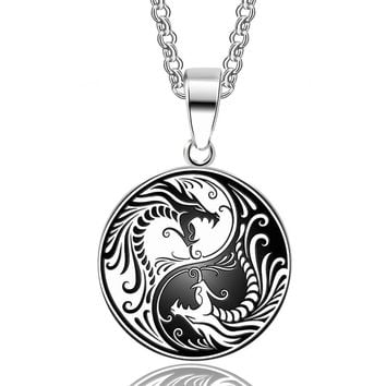 ABAICER 1pcs 316L Stainless Steel Yin Yang Dragon Pendant Necklace Norse Vikings Runes Amulet Necklaces Pendants Gifts Men Charm