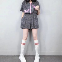 """""""Adidas"""" Women Sport Casual Loose Fashion Letter Print Short Sleeve Hooded Zip Romper Jumpsuit Shorts"""