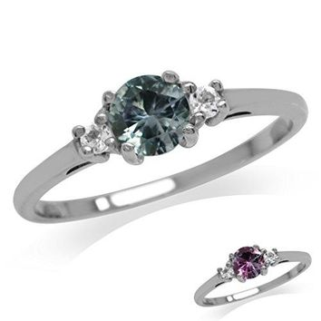 Petite Simulated Color Change Alexandrite amp White CZ Gold Plated 925 Sterling Silver Ring