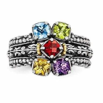 Genuine Sterling Silver & 14k Five Birthstones Mother's Personalized Ring Antique Finish