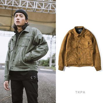 TKPA Men Motorbike Jackets Suede Leather Vintage Clothing Streetwear Jacket Hip Hop Style Casual Loose Coats