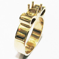 Ring Mounting Engagement Ring Solitaire Ring in Solid 18K Yellow Gold