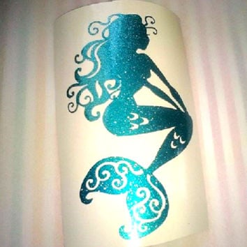Sparkle Mermaid decal, Teal Glitter Mermaid, Pink Mermaid, Silver Mermaid, Decal for cups, Laptop sticker