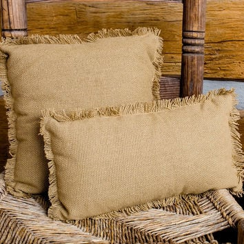 Deluxe Burlap Natural Tan Pillows