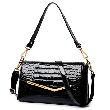 Realer brand Patent Leather Croc Embossed shoulder/crossbody bag