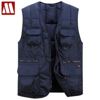 2018 Brand Mens Causal Vests With Many Pockets Men's Sleeveless Coat Fashion Vest Shirt Loose Photographer Men's Waistcoats